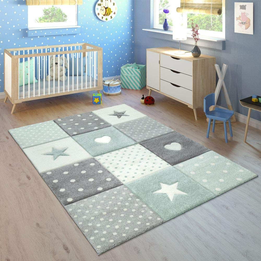 Paco Home Kinderteppich Kinderzimmer Kariert Punkte Herzen Sterne In Pastell Grün Grau, Grösse:200x290 cm