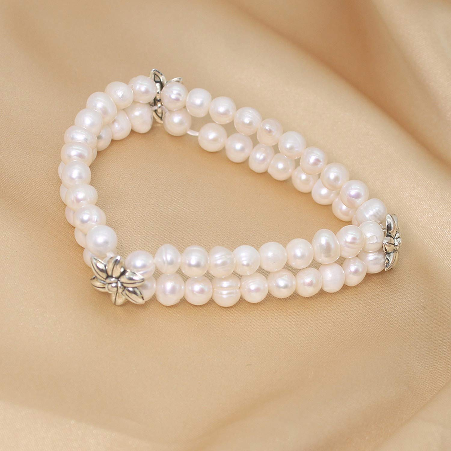 Aplause-Y Lotus White Freshwater Pearls Bangle Real Natural Pearl Bracelet for Women Wedding Fine Jewelry Party Gift