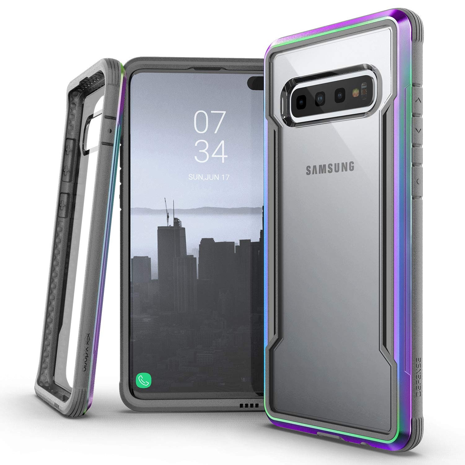 X-Doria Defense Shield Series, Samsung Galaxy S10 Plus Phone Case - Military Grade Drop Tested, Anodized Aluminum, TPU, and Polycarbonate Protective Case for Samsung Galaxy S10 Plus, (Iridescent)