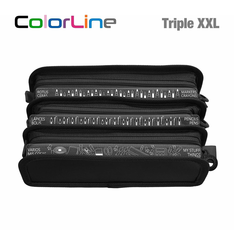 Colorline 58611 - Estuche Portatodo Triple XXL con Fuelle Expandible de Gran Capacidad. Con Indicadores de uso Impresso en cada Apartado. Color Negro, ...