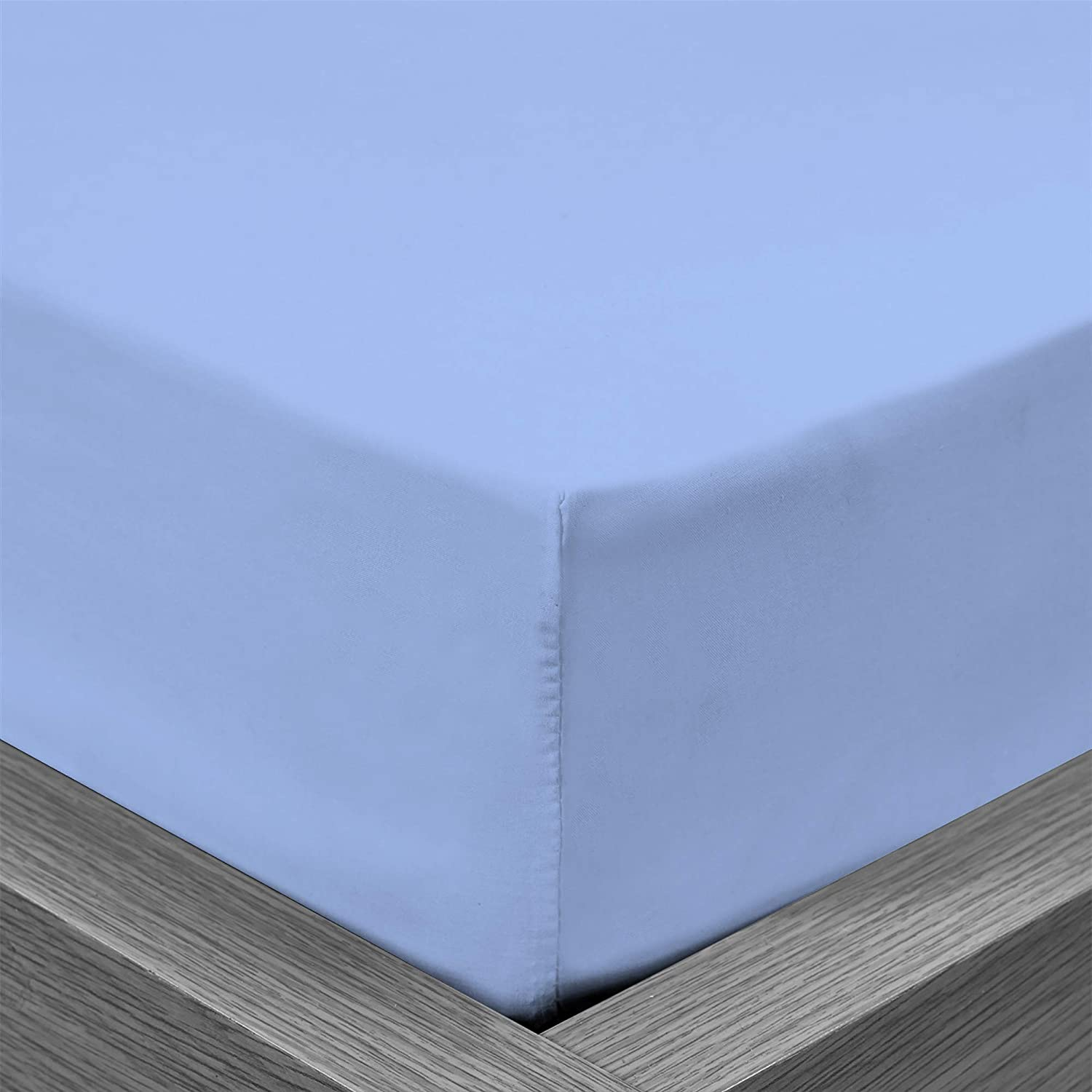 Placid Blue, Single 100/% Egyptian Cotton Fitted Sheets with 2 Pillow Cases