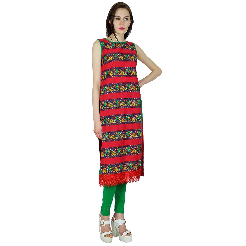 Bimba Women Cotton Custom Kurta Straight Kurti Sleeveless Red Top Indian Formal Ethnic Blouse: Amazon.co.uk: Clothing