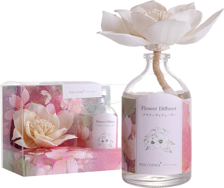 Rose Cottage Reed Diffuser Set Lavender Scented Sticks Oil Diffuser Room Fragrance for Bedroom Bathroom Living Room Office 100ML/3.4Oz.