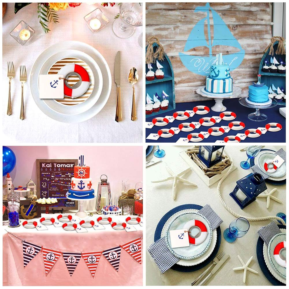 AerWo 20pcs Nautical Baby Shower Favors Nautical Baby Shower Birthday Party Gifts for Guest Life Saver Bottle Opener for Beach Wedding Favors with Anchor Logo Tag Card