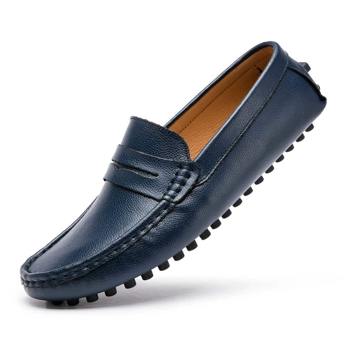 ARTISURE Men's Classic Handsewn Genuine Leather Penny Loafers Driving Moccasins Casual Slip On Boat Shoes Fashion Comfort Flats Blue 12 M US SKS-1223LAN120