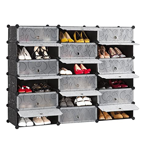Langria 18 Cube Diy Shoe Rack Versatile Cube Storage Organiser Plastic Cupboard With Doors Curly Pattern Black And White