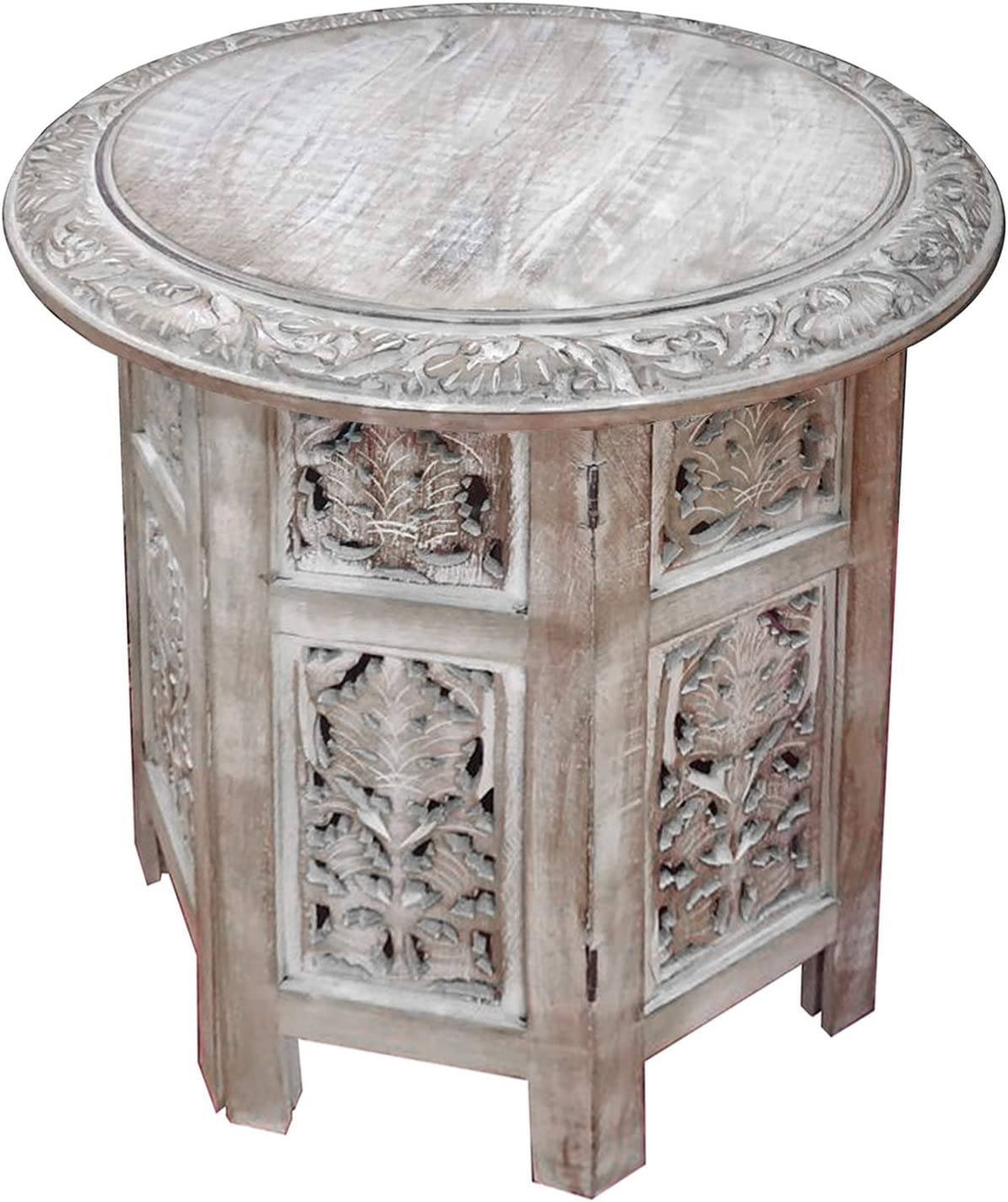 TUP The Urban Port Wooden Hand Carved Folding Accent Coffee Table, Distressed White