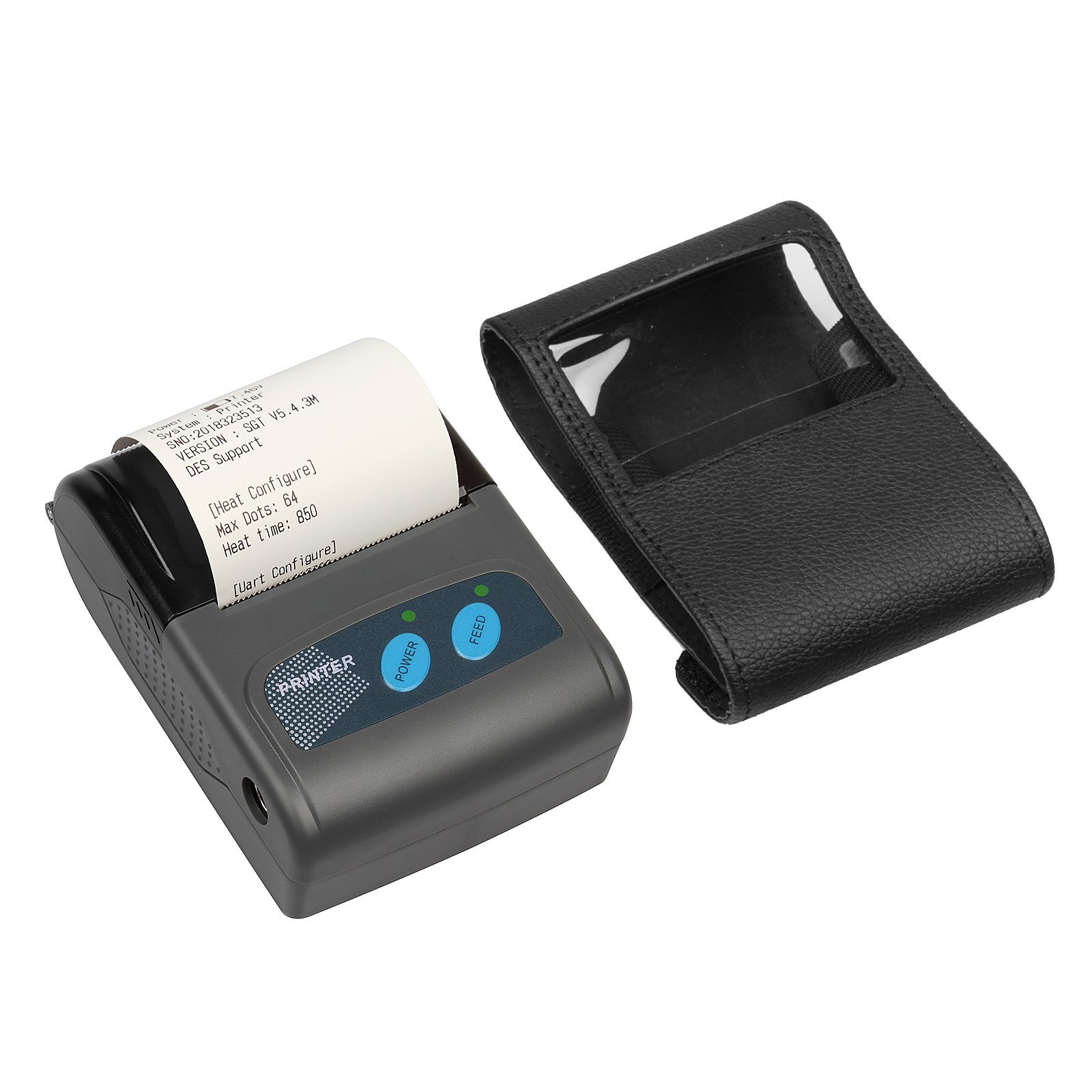 GBGS Bluetooth USB Thermal Receipt Printer Wireless Handheld, with Leather Belt and Cutter, Rechargeable Battery, 90mm/s Printing Speed, for Android/iPhone/iPad/Windows/Linux +ESC/POS, Not for Mac os
