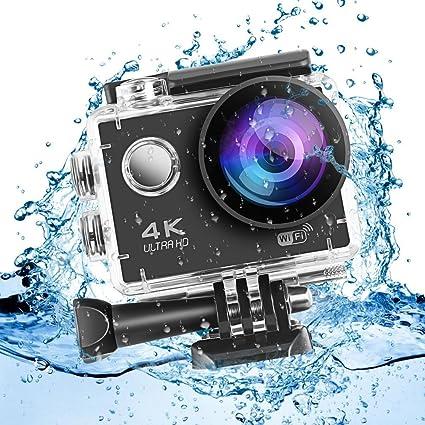 Leshp Action Cam 4k 1080p Action Kamera 2 Akkus 1050mah Wifi 16mp Unterwasser Und Wasserdicht 170 Weitwinkel Sport Action Kamera Und Zubehör Kit Für Radfahren Schwimmen Sport Freizeit