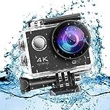 Cozime Action Cam 4K Full HD, 2 batterie da 1050mAh, WIFI, 16MP, Subacquea e Impermeabile, 170° Grandangolare Sport Action Camera e Kit Accessori per Ciclismo Nuoto
