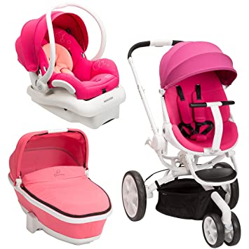 Quinny Moodd Stroller Travel System Pink Passion White With Bassinet