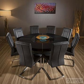 Avant Garde Luxe Table Ronde Salle A Manger Chene Noir 8