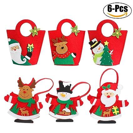 Amazon.com: Funpa Christmas Candy Bags, 6Pcs Gift Handbag Set ...