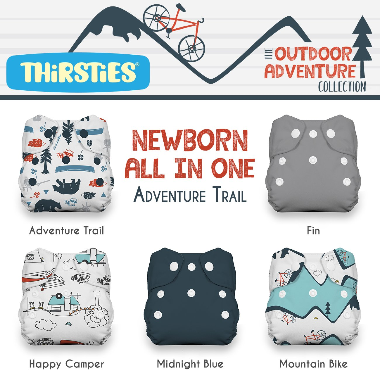 Thirsties Package-Snap Newborn All in One-Woodland Collection, Mountain Range TNAIOPSWCMR
