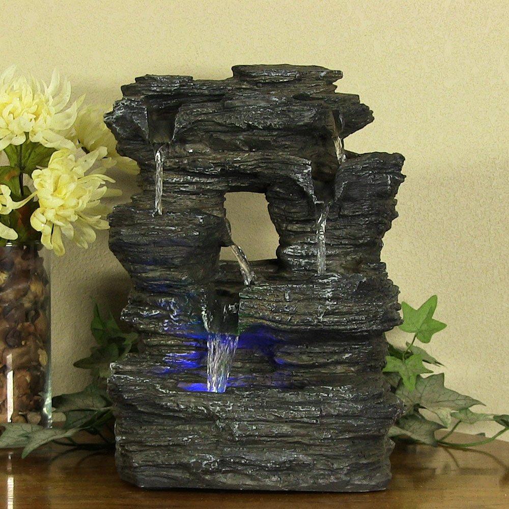 Amazon.com: Sunnydaze Five Stream Rock Cavern Tabletop Fountain ...