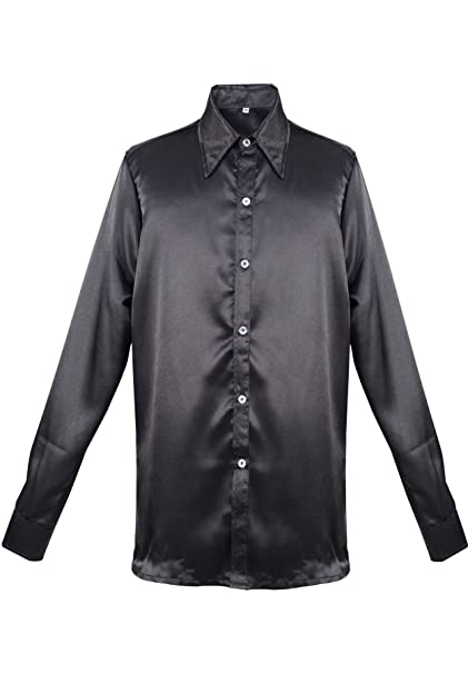 Men's Dress Shirts Black Satin