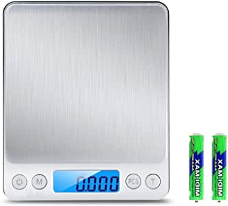 Digital Kitchen Scale,Amicable 3000g/0.1g mini pocket jewelry scale, cooking food scale with LCD display, 6-Units Auto off Tare PCS Function Stainless steel, 2Pcs plastic scale pan included