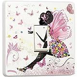 Fée rose princesse papillon & fleurs–Sticker–Autocollant en Vinyle pour interrupteur simple motif peau par Stik