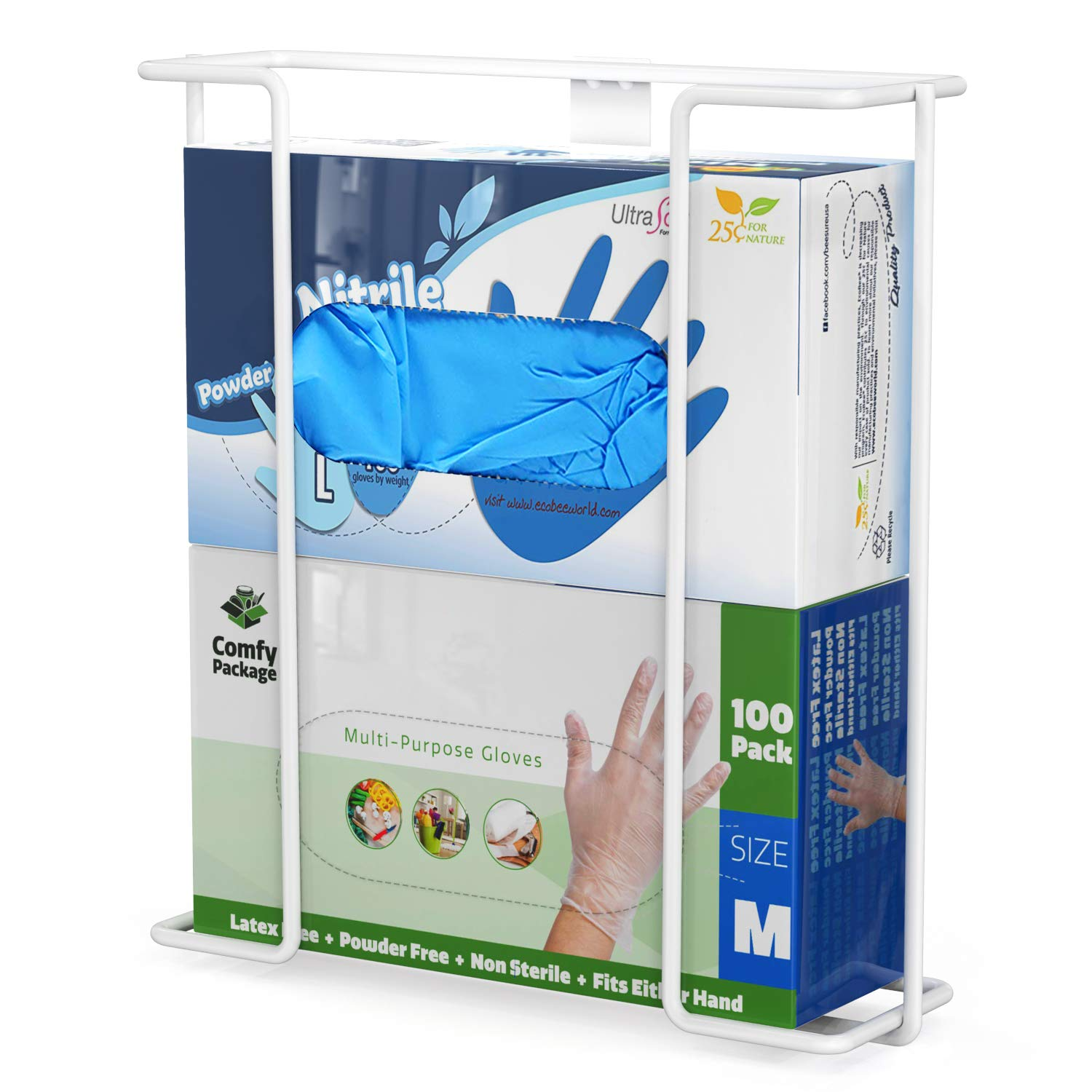 TITE Disposable Glove Box Holder Dispenser Double Wall Mounted Universal Napkin Wire Rack Standard Size