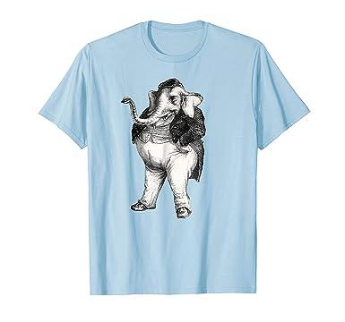 Mens JJ Grandville Elephant Waistcoat Dress Smoking Cigar T Shirt 2XL Baby Blue