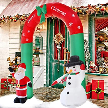 Christmas Arch Inflatable Santa Snowman With Led Lights Christmas Garden Decorations Inflatable Archway Arch Outdoor Indoor Merry Christmas Decorations Venue Arrangement Decoration 8ft 2 4m Amazon Co Uk Kitchen Home