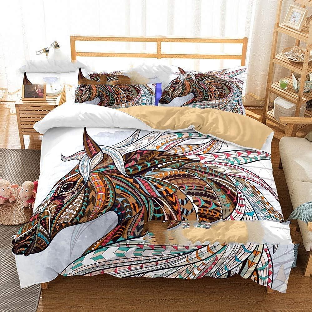 WSKMHK Caballo Brown 3 Piezas Patrón 3D Poli Algodón Colcha Cama Dormitorio De Adultos Adolescentes Conjunto Cremallera con Fundas De Almohadas Cama Decoraciones,260X220