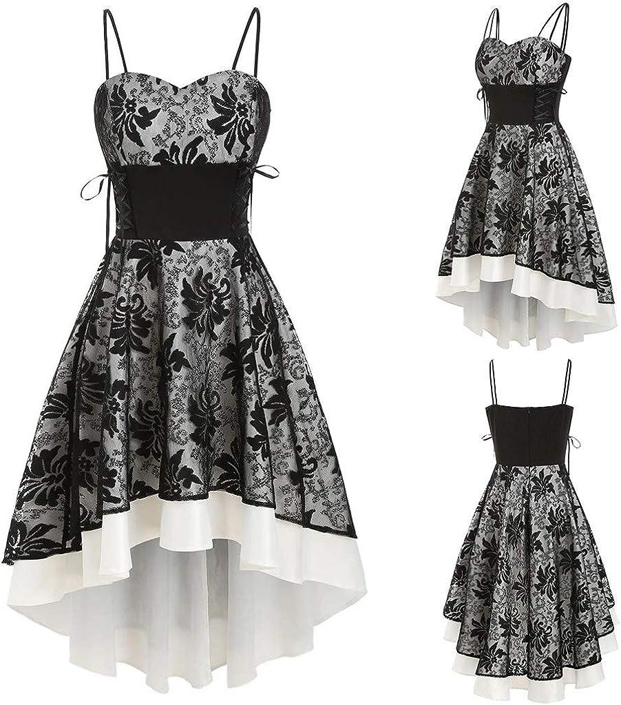 Gaddrt Dress for Women Vintage High Grade Bandage Lace Up High Low Dress Party Dress Evening Gown