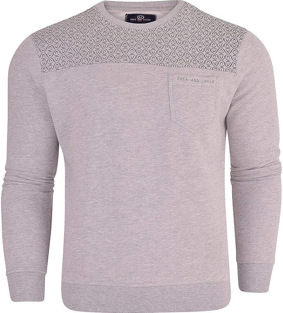 Duck and Cover Mens Original Designer Crew Neck Sweatshirt Jumper Smart Casual Top Chest Pocket