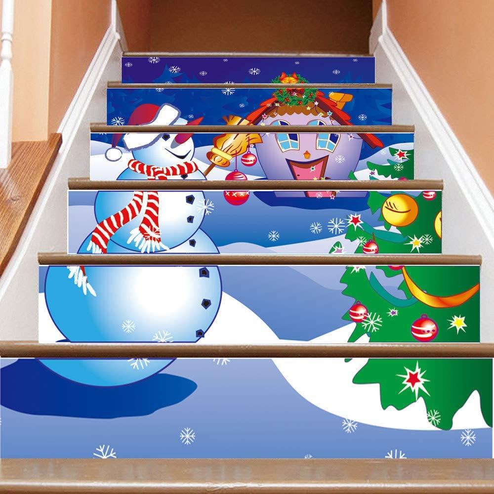 TtKj Pegatinas de escaleras Navidad muñeco de Nieve Escalera 3D Decorativos Paso engomada (Juego de 6 100 * 18cm): Amazon.es: Hogar