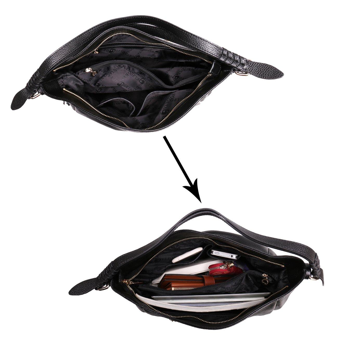 Geya Women's Fashion Genuine Leather Handbag Shoulder Handbag with Imported Soft Hot Leather (Black) by Geya (Image #4)