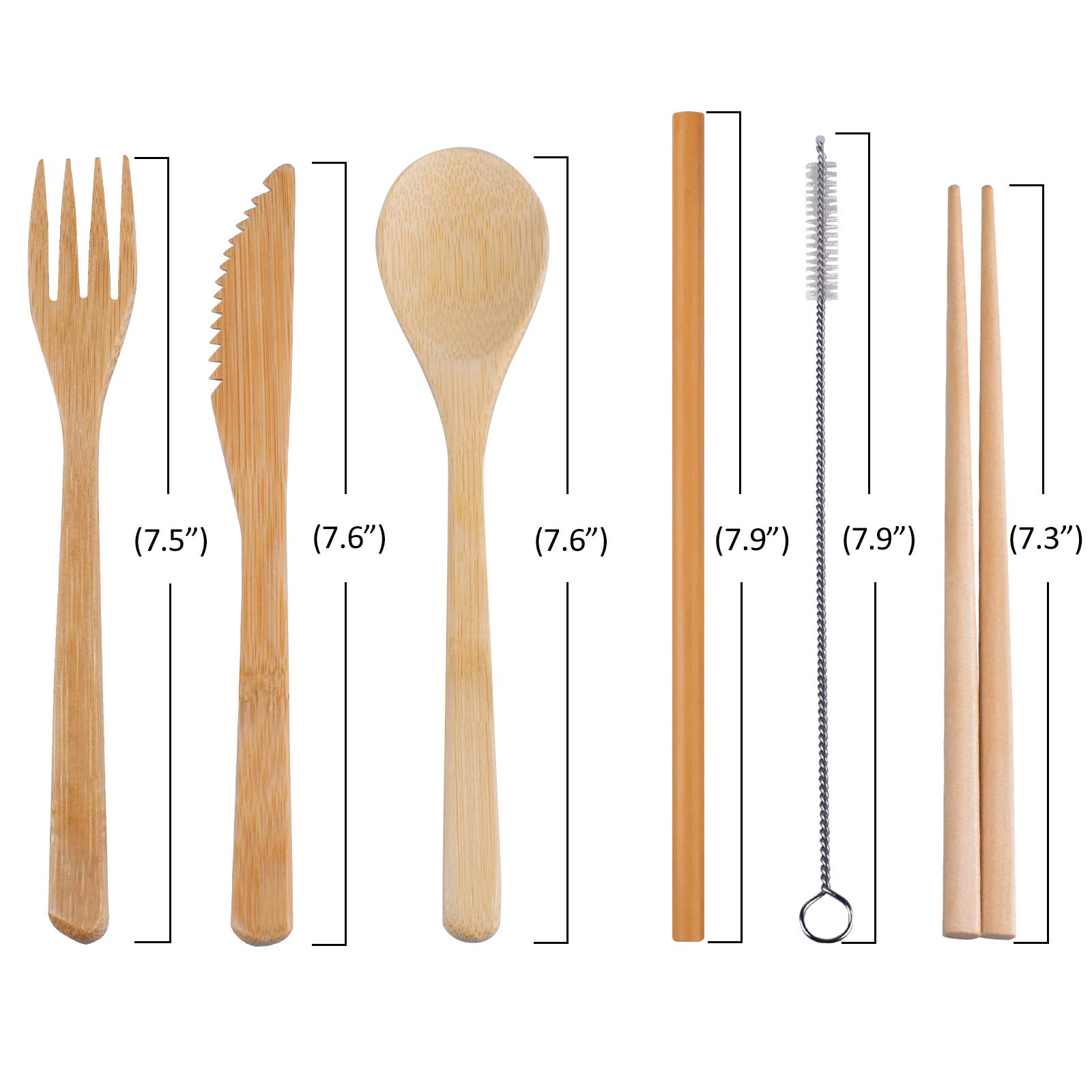Bonviee Bamboo Cutlery Set Reusable Utensil Set include Knife, Fork, Spoon, Chopsticks, Straw and Cleaning Brush (6 Pairs) Travel Flatware Set for Camping Office Lunch School Home