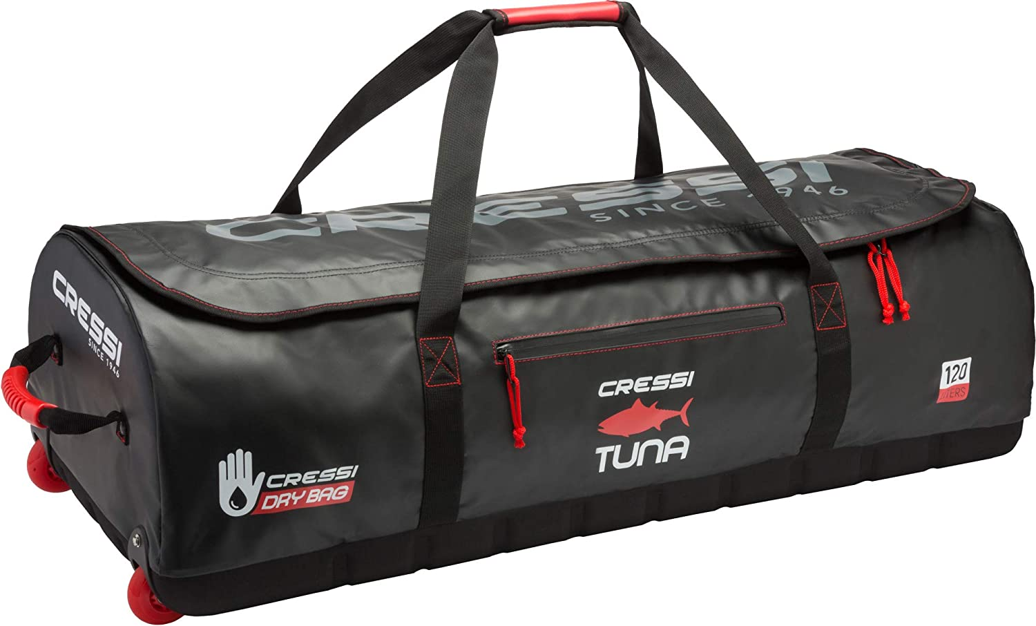 Image of Cressi High-Capacity Wheeled Bag | Water Resistant | 120 Liters Capacity | Ideal for Scuba Diving and Water Sports Equipment | Tuna: Designed in Italy Dry Bags