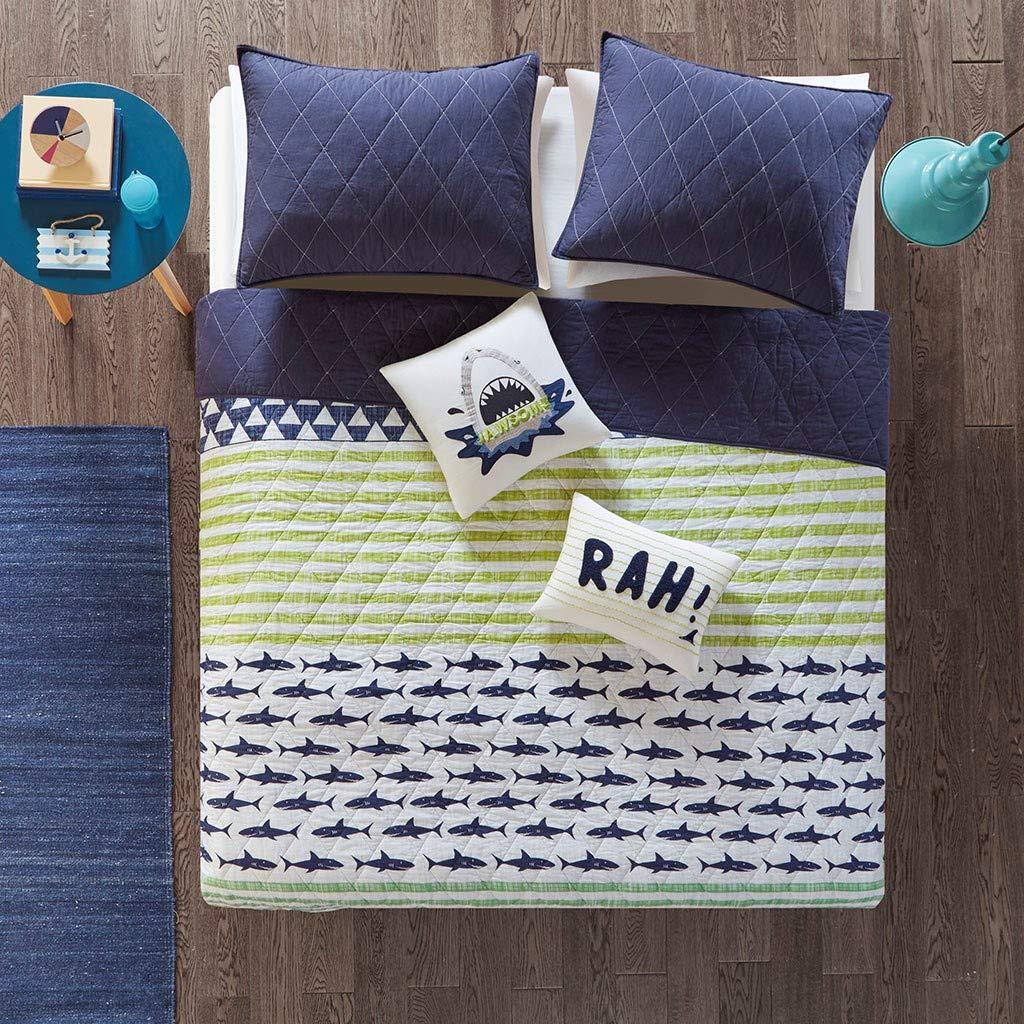 Urban Habitat Kids Finn Twin/Twin XL Bedding Sets Boys Quilt Set - Green, Navy, Shark Stripe – 4 Piece Kids Quilt for Boys – 100% Cotton Quilt Sets Coverlet