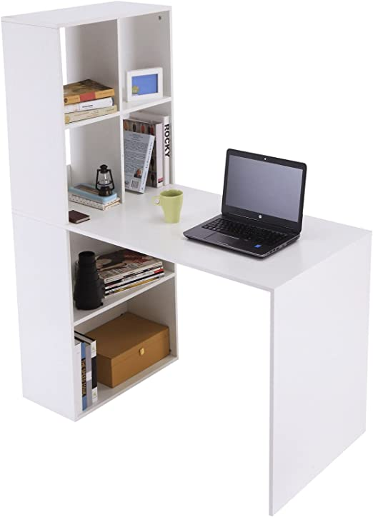 White Computer Desk Modern Home Office Workstation Storage Table Furniture Dorm