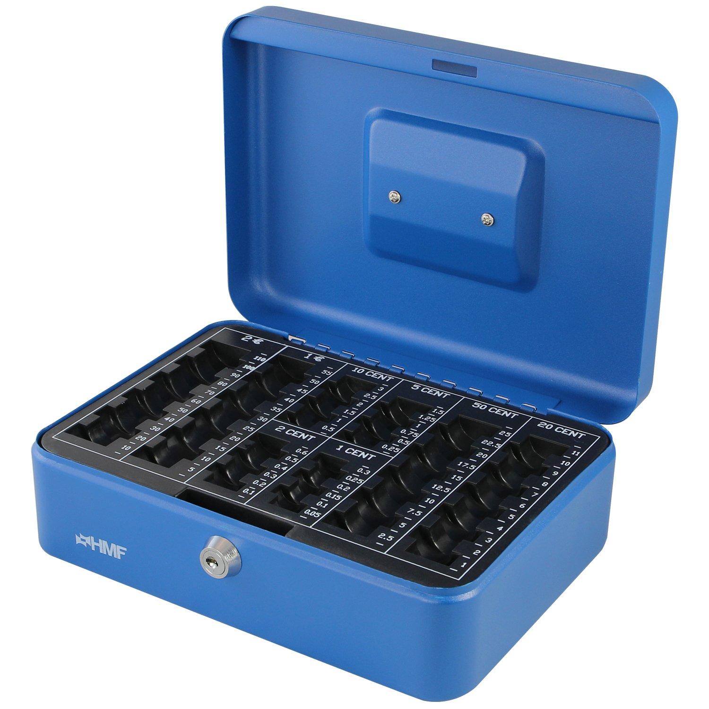 HMF 208-05 Geldkassette Euro-Münzbrett 25 x 18 x 9 cm , blau