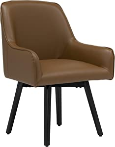 Studio Designs Home Spire Luxe Swivel Accent Chair with Arms, Guest/Dining/Office, Black/Caramel Brown Blended Leather