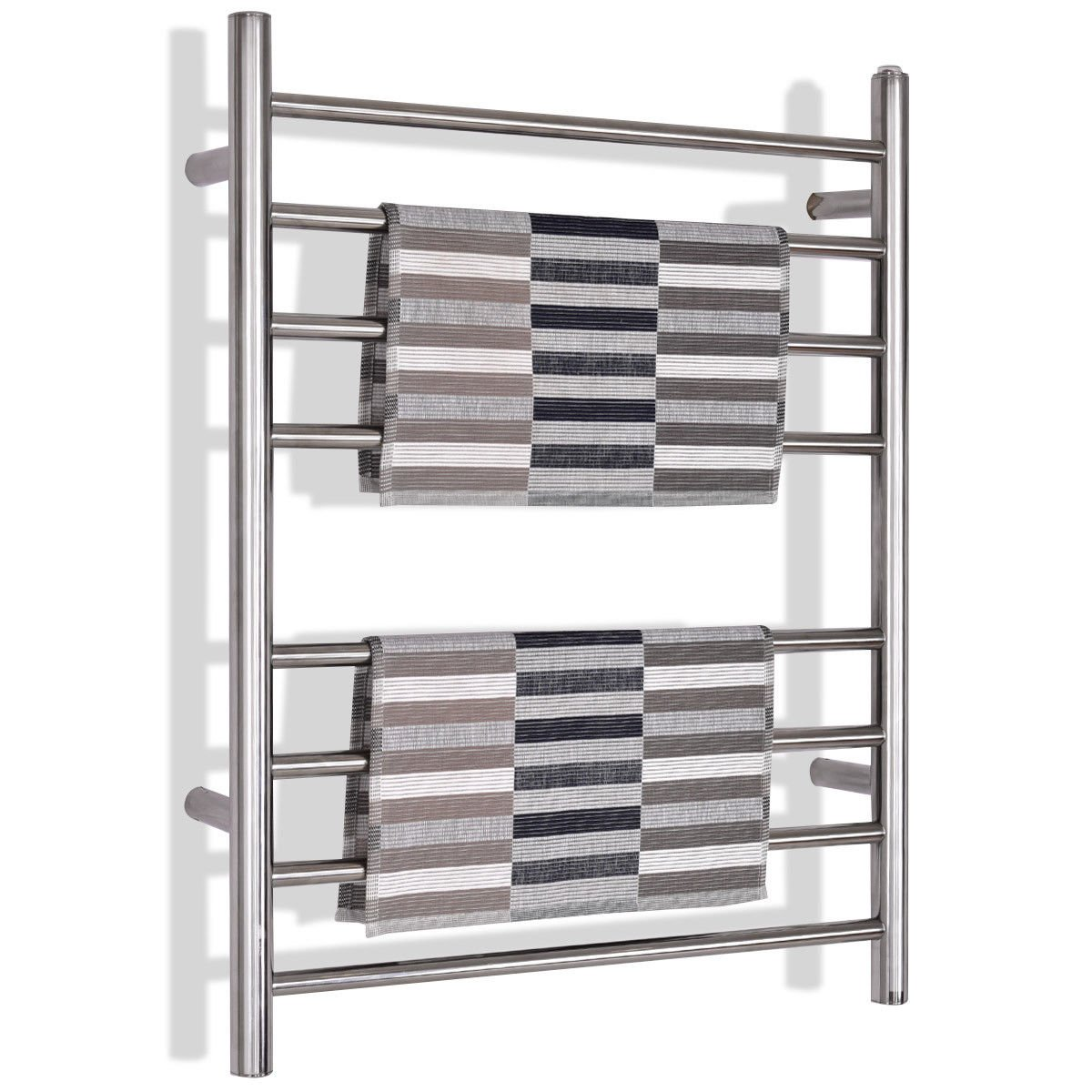 Tangkula 5-Bar Bath Towel Warmer Free Standing & Wall Mounted 36' Towel Heater for Home Bathroom Stable Metal Frame Space Saving Towel Hanger 100W Portable Drying Rack (23' L x 13.0' W x 36' H)