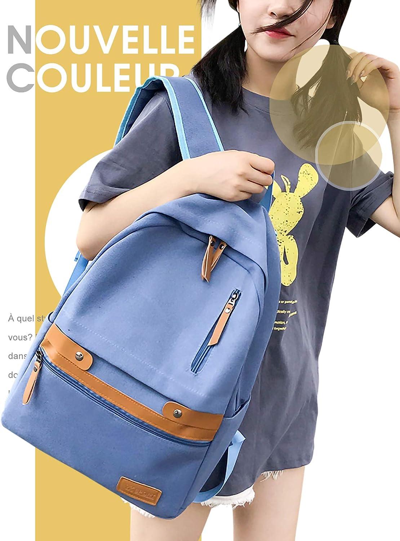 Monissy Fille School Bag Etudiante Toile et Cuir Couture Plusieurs Séparations Sac à Dos Coréen Mode Relax Tendance Sac Casual Outdoor Extérieur Simple Nouveau Style Bleu