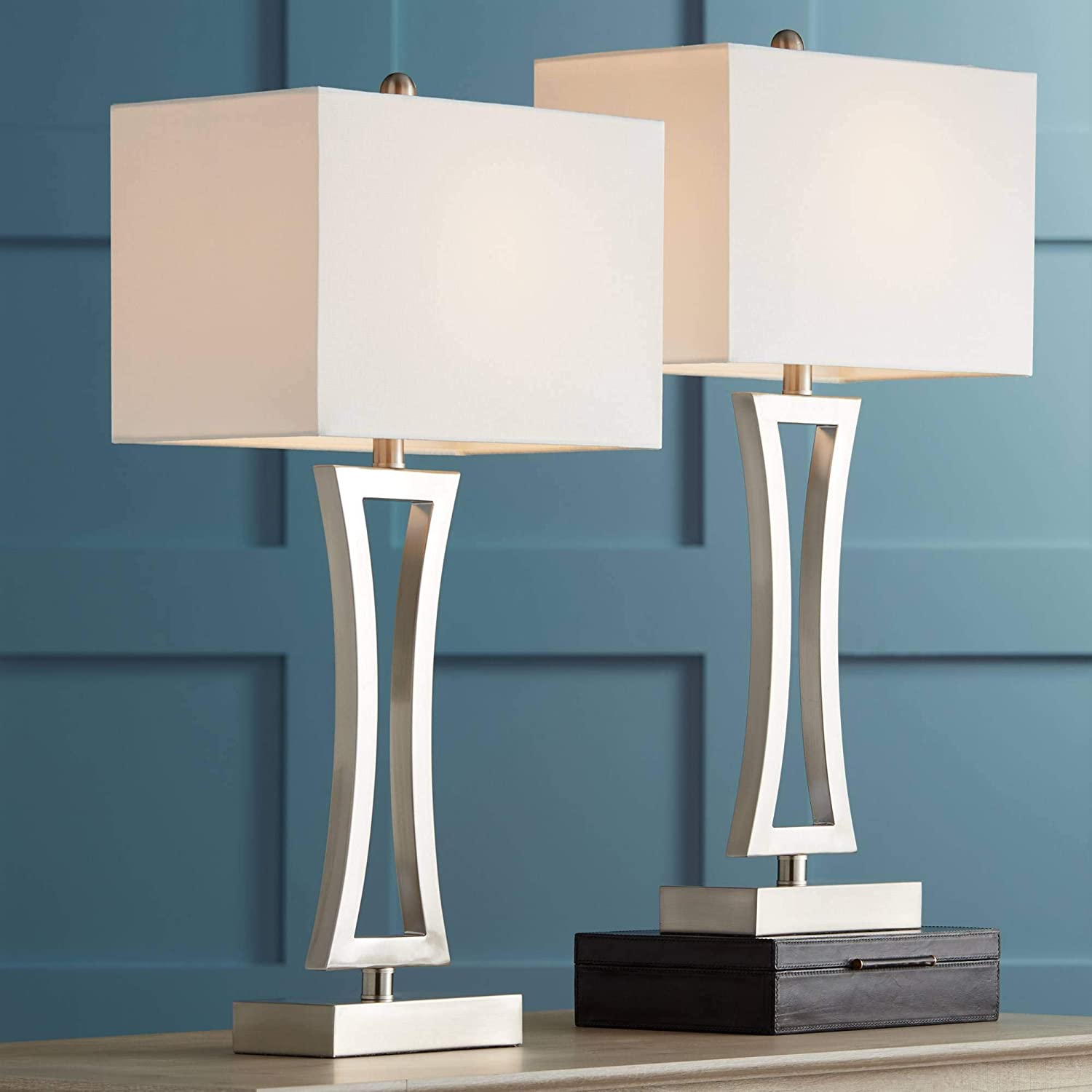 Roxie Modern Table Lamps Set of 2 Brushed Steel Off White Rectangular Shade for Living Room Family Bedroom Bedside Office