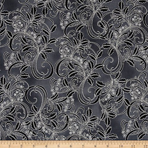 Hoffman of California Winter Blossom Metallic Holly Scroll Fabric by the Yard, Charcoal/Silver