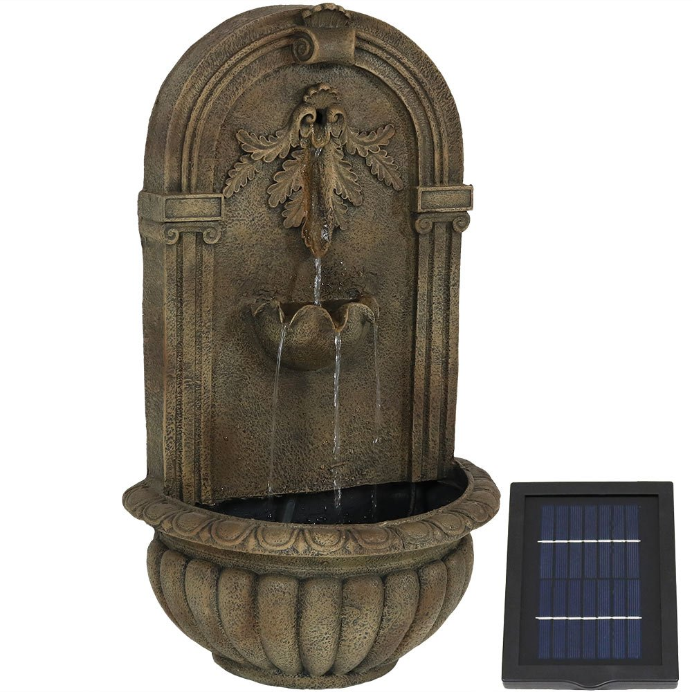 Sunnydaze Florence Solar Garden Outdoor Wall Fountain, Florentine Stone, Solar Only, with Solar Pump and Panel