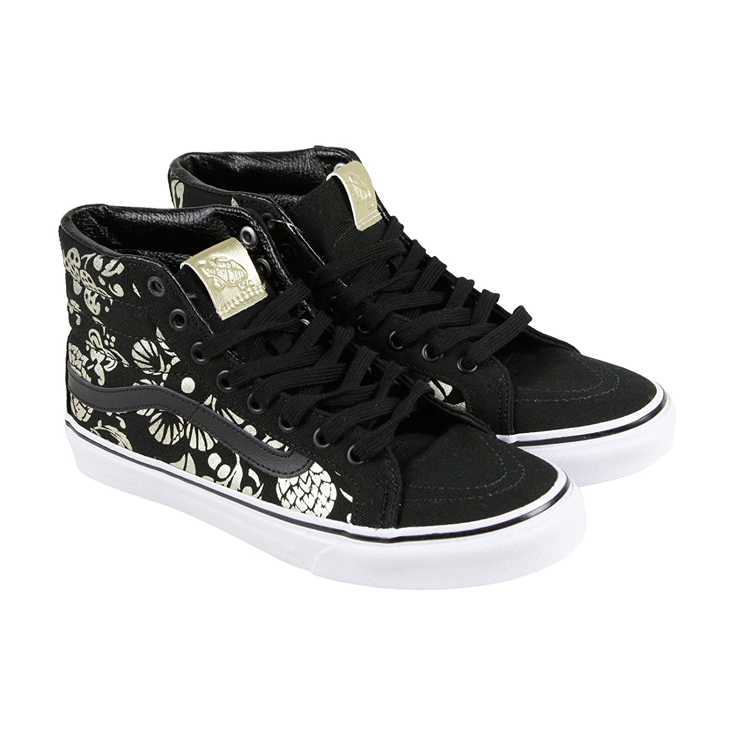 0a98a2c931 Vans Unisex Shoes SK8-Hi Slim Classic (50TH) Anniversary Black With Gold  Sneakers (6.5 MENS /8 WOMENS)