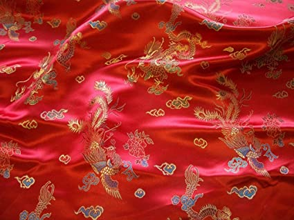 5e15d7bbc RED AND GOLD TRADITIONAL CHINESE EMBROIDERED BROCADE POLYESTER **FREE UK  POST** SILKY