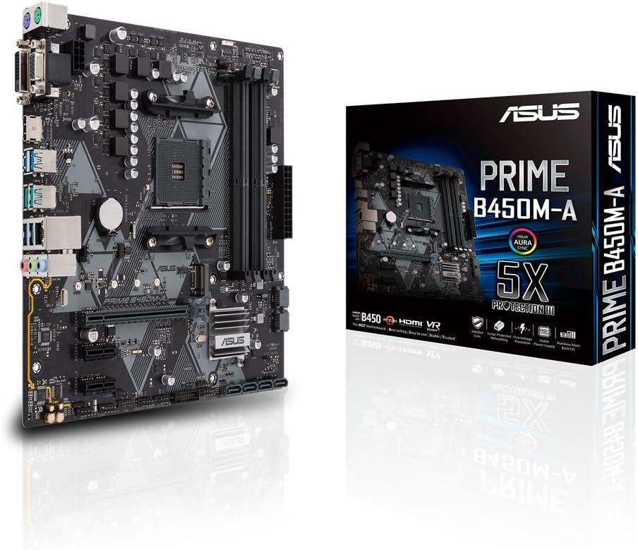 ASUS PRIME B450M-A - Placa base AMD AM4 mATX con conector Aura Sync RGB, DDR4 3200 MHz