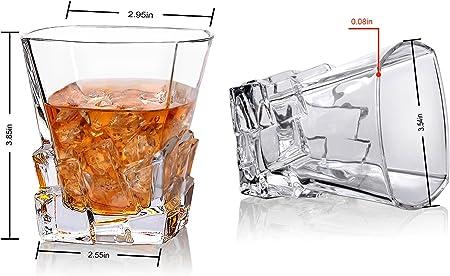 Cooko Iceberg Vasos de Whisky, Vasos de Beber Transparentes, Accesorios de Vino Para Whisky,Cocktail,Bourbon,Juice,300ML set de 2 (10.6 oz)