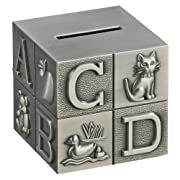 Creative Gifts International Pewter Brush Finish Alphabet Block Baby Bank