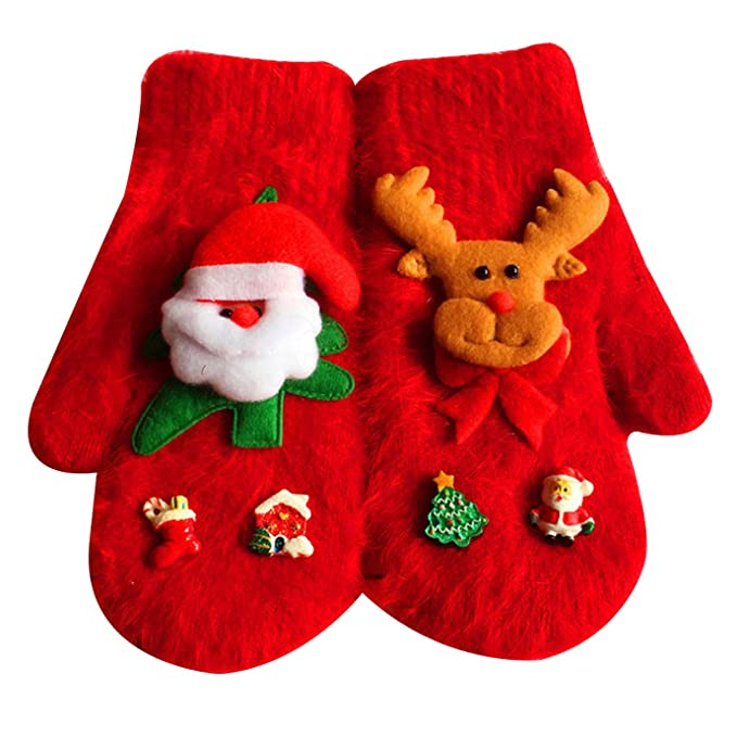 yaosen women winter warm christmas gloves cute knitted golves mittens - Christmas Mittens