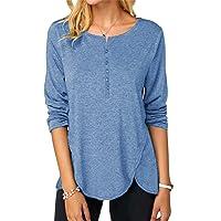 OMSJ Women Button Down Blouse Long Sleeve T Shirts Tops