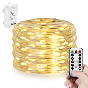 Amazon outdoor rope lights battery operated 50 led 164ft outdoor rope lights battery operated 50 led 164ft waterproof string lights 8 modes twinkling aloadofball Gallery