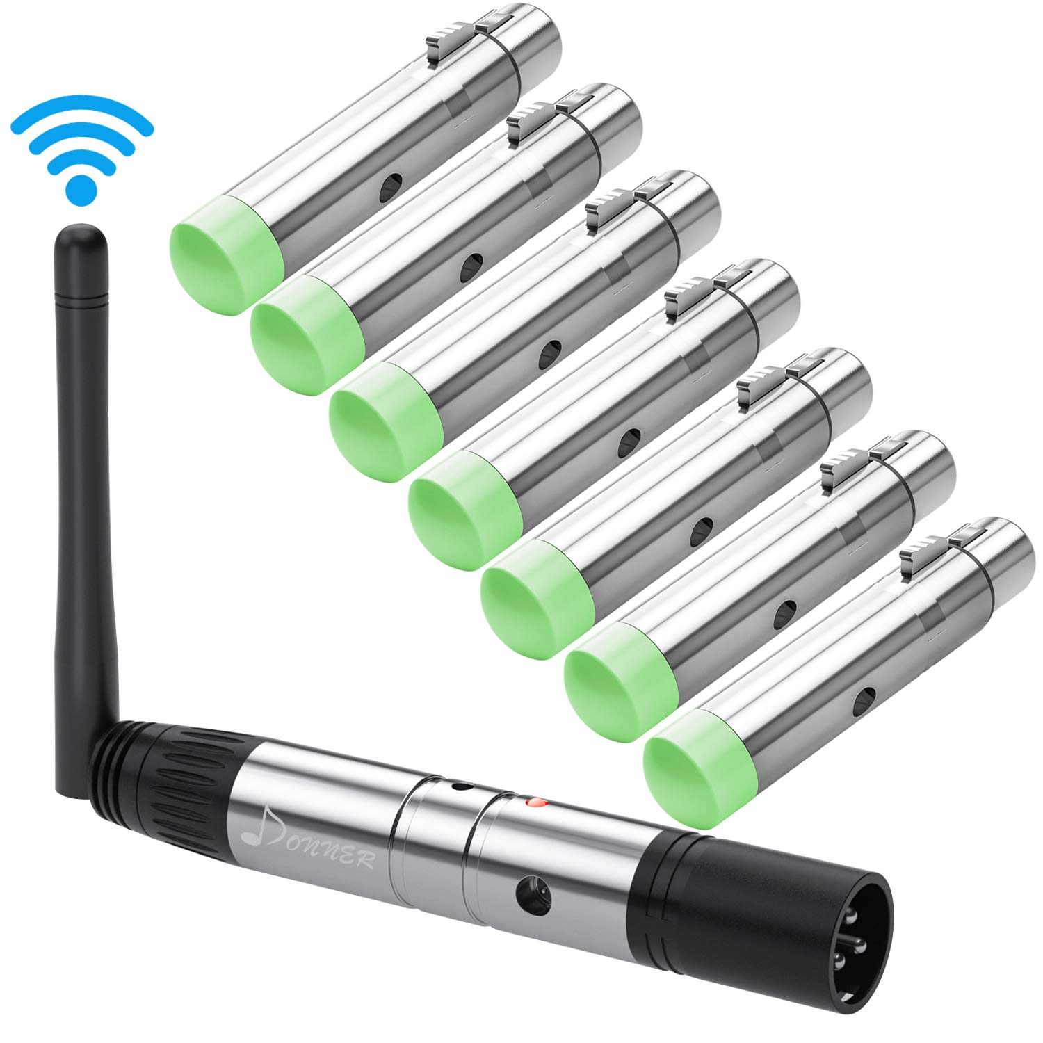 Donner 8pcs DMX512 DMX Dfi DJ 2.4G Wireless 7 Receiver with Tricolor LED Indicators & 1 Transmitter LED Lighting Control